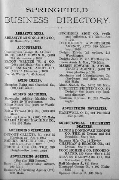 Springfield Bus Directory 1912